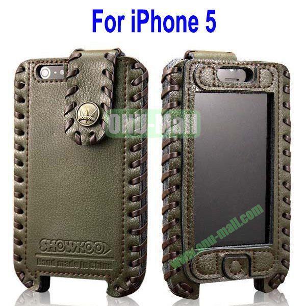 High Quality Elegant Duke Style Genuine Leather Case for iPhone 5(Blackish Green)
