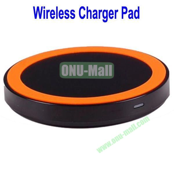 Wireless Charger Pad with Power Adapter for Galaxy S4,Galaxy S3, Note 2,Nokia Lumia 920, LG Nexus 4 with Receiver Case, etc(Black+Orange)