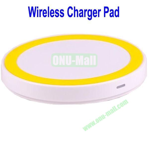 Wireless Charger Pad with Power Adapter for Galaxy S4,Galaxy S3, Note 2,Nokia Lumia 920, LG Nexus 4 with Receiver Case, etc(White+Yellow)