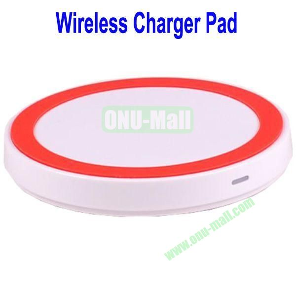 Wireless Charger Pad with Power Adapter for Galaxy S4,Galaxy S3, Note 2,Nokia Lumia 920, LG Nexus 4 with Receiver Case, etc(White+Red)