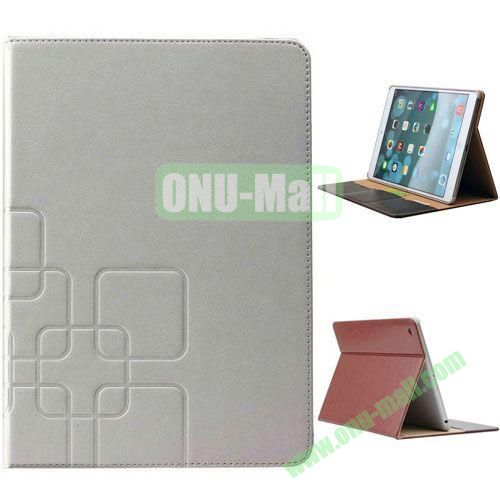 Grid Pattern Crazy Horse Texture Leather Case for iPad Mini 3 with Holder and Card Slots (White)