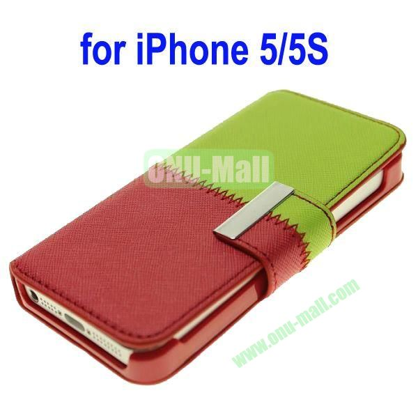 Color Mixing Leather Case Cover for iPhone 5SiPhone 5(Green+Red)