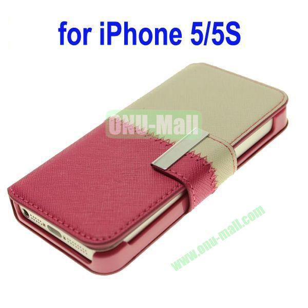 Color Mixing Leather Case Cover for iPhone 5SiPhone 5(White+Rose)