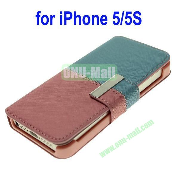 Color Mixing Leather Case Cover for iPhone 5SiPhone 5(Blue+Pink)