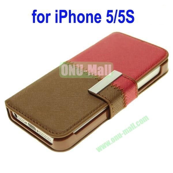 Color Mixing Leather Case Cover for iPhone 5SiPhone 5(Red+Brown)
