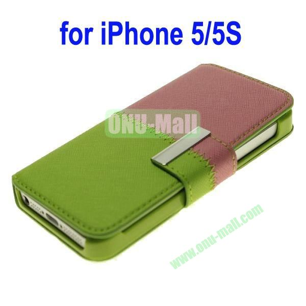 Color Mixing Leather Case Cover for iPhone 5SiPhone 5(Green+Pink)