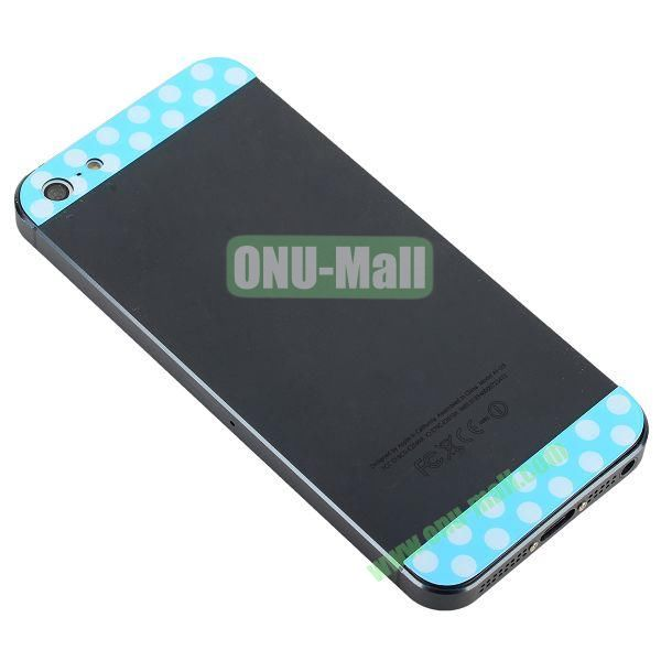 Polka Dot Top and Bottom Glass Back Cover Replacement for iPhone 5 (Blue+White)