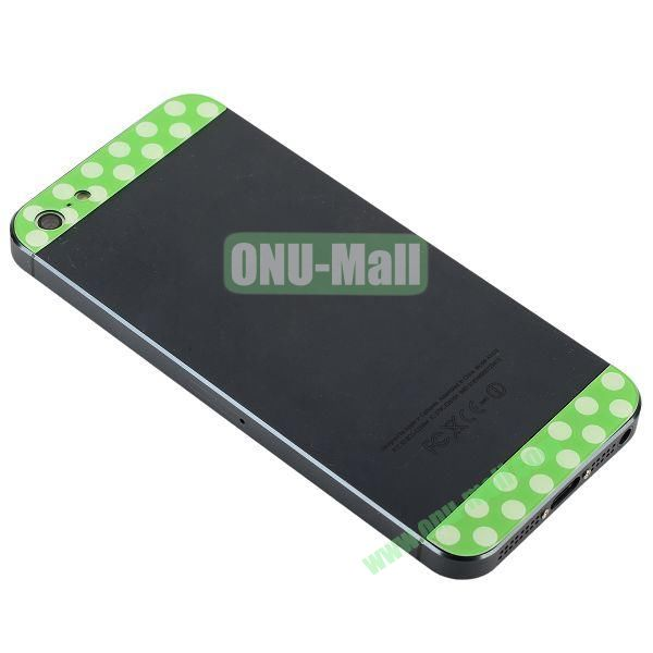 Polka Dot Top and Bottom Glass Back Cover Replacement for iPhone 5 (Green+White)