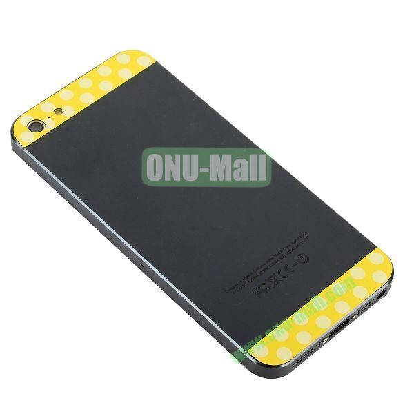 Polka Dot Top and Bottom Glass Back Cover Replacement for iPhone 5 (Yellow+White)