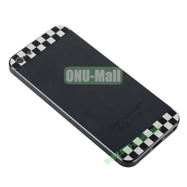 Classical Black And White Check Pattern Top and Bottom Glass Back Cover Replacement for iPhone 5