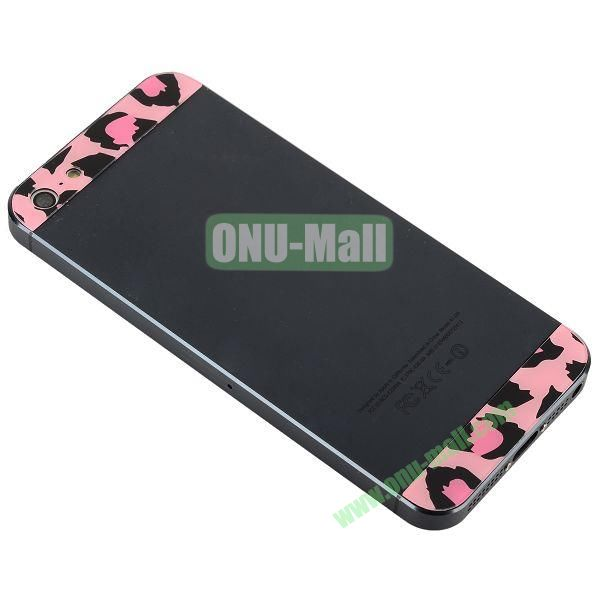 Leopard Pattern Top and Bottom Glass Back Cover Replacement for iPhone 5 (Pink)