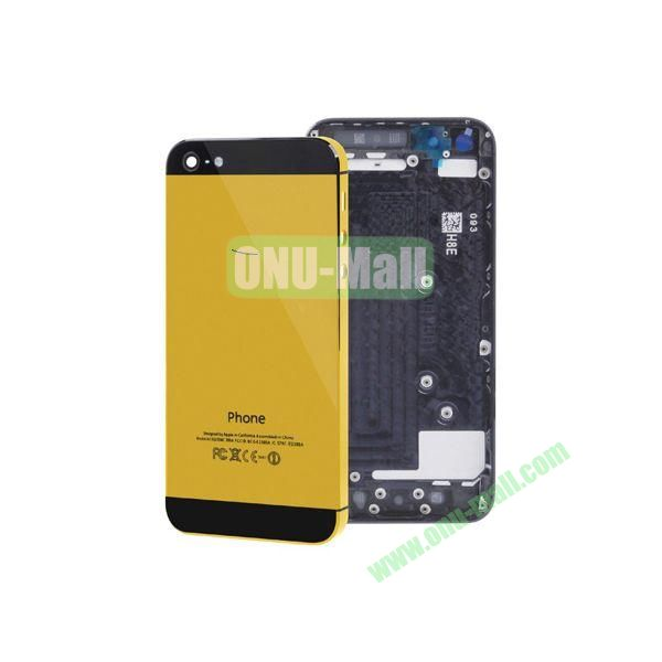Spare Parts Back Cover Replacement Repair Parts for iPhone 5 (Yellow+Black)
