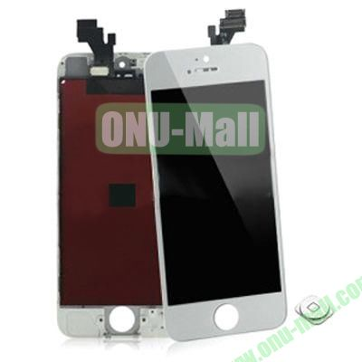LCD Assembly for iPhone 5 with Touch Screen and Digitizer Frame Bezel and Home Button (White)