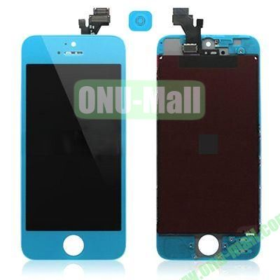 LCD Assembly for iPhone 5 with Touch Screen and Digitizer Frame Bezel and Home Button (Blue)