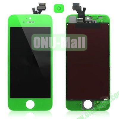 LCD Assembly for iPhone 5 with Touch Screen and Digitizer Frame Bezel and Home Button (Green)