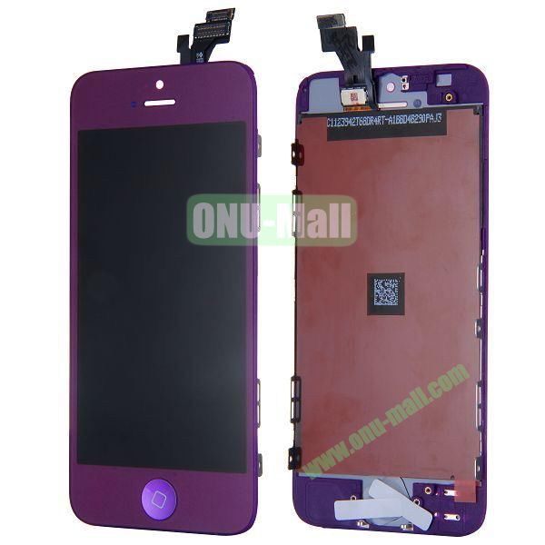 LCD Assembly for iPhone 5 with Touch Screen and Digitizer Frame Bezel and Home Button (Purple)