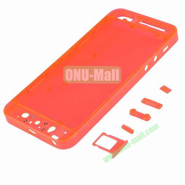 Plastic Back Cover Spare Parts for iPhone 5 with Side-buttons and SIM Card Tray (Red)