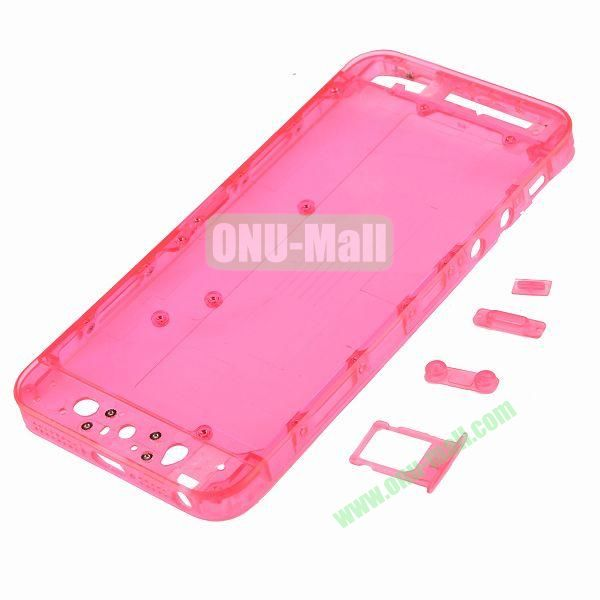 Plastic Back Cover Spare Parts for iPhone 5 with Side-buttons and SIM Card Tray (Rose)