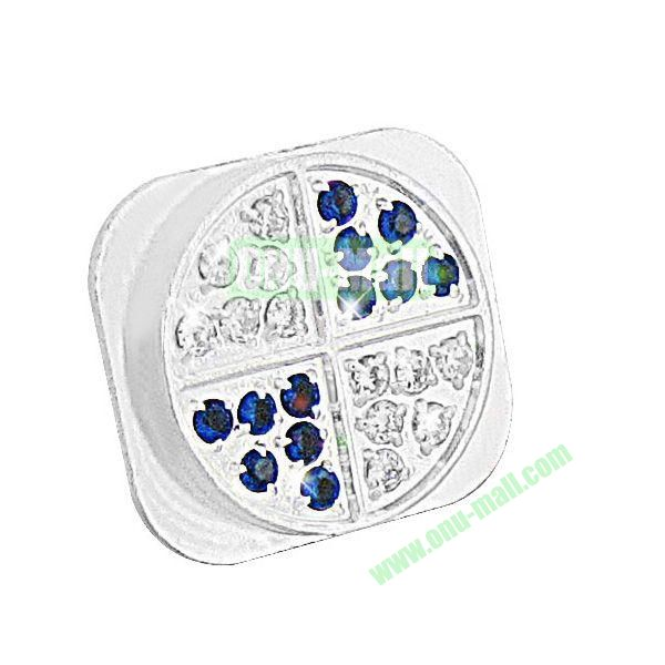 Shining Diamond Home Button Spare Parts for iPhone 5 (Silver+Blue)