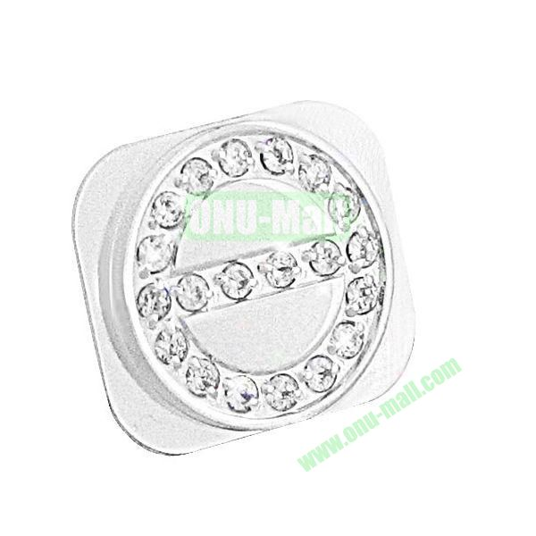 Shining Diamond Home Button Spare Parts for iPhone 5 (White+Silver)