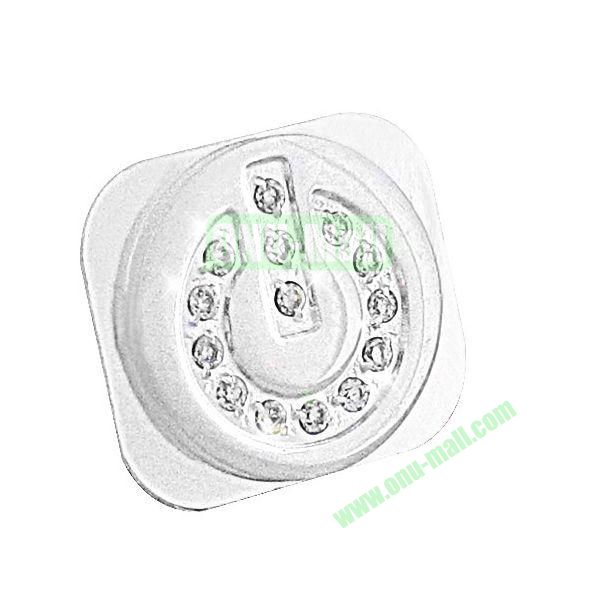Shining Diamond Home Button Spare Parts for iPhone 5 (Silver+White)