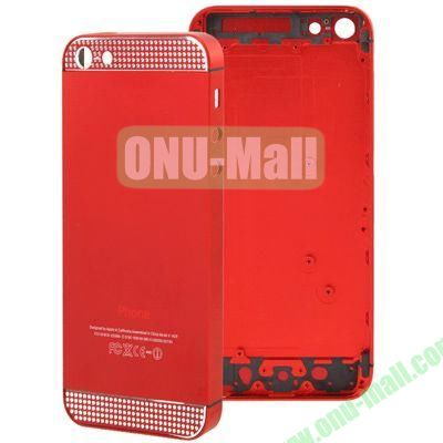 Full Housing Alloy Diamond Back Cover Faceplate Replacement for iPhone 5 (Red)