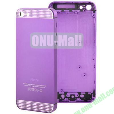 Full Housing Alloy Diamond Back Cover Faceplate Replacement for iPhone 5 (Purple)