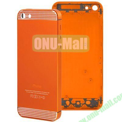 Full Housing Alloy Diamond Back Cover Faceplate Replacement for iPhone 5 (Orange)