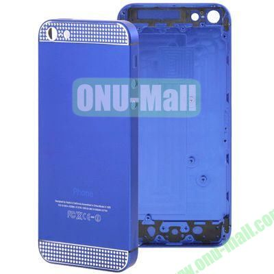 Full Housing Alloy Diamond Back Cover Faceplate Replacement for iPhone 5 (Blue)