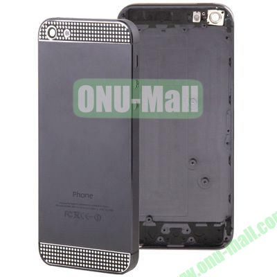 Full Housing Alloy Diamond Back Cover Faceplate Replacement for iPhone 5 (Black)