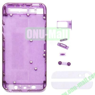 Replacement Transparent Plastic Housing Battery Cover For iPhone 5 With Mute Button + Power Button + Volume Button + Nano SIM Card Tray + Back Cover Top & Bottom Glass Lens (Purple)