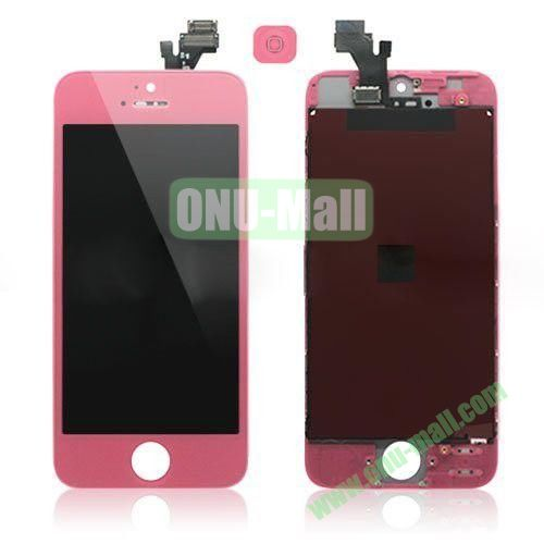 LCD Assembly for iPhone 5 with Touch Screen and Digitizer Frame Bezel and Home Button (Pink)