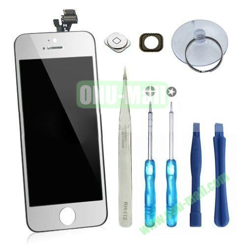 LCD Display+Touch Digitizer Screen+Home Button+Home Button Bracket Assembly Replacement Spare Parts for iPhone 5 With Opening Tool Kits (Silver+Black Edges)