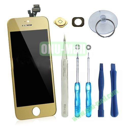 LCD Display+Touch Digitizer Screen+Home Button+Home Button Bracket Assembly Replacement Spare Parts for iPhone 5 With Opening Tool Kits (Gold)