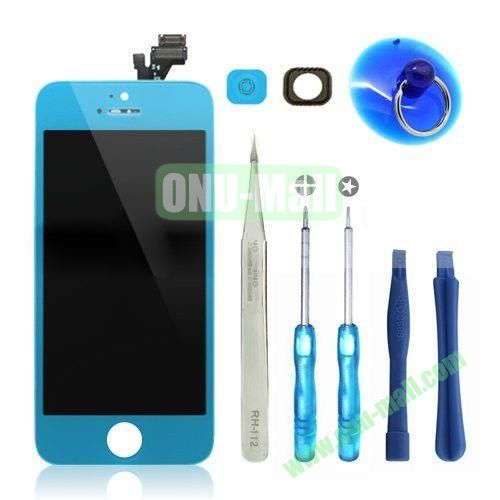 LCD Display+Touch Digitizer Screen+Home Button+Home Button Bracket Assembly Replacement Spare Parts for iPhone 5 With Opening Tool Kits (Blue)