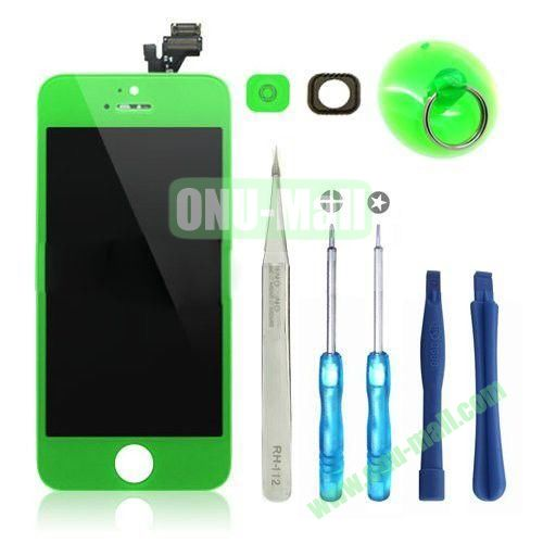 LCD Display+Touch Digitizer Screen+Home Button+Home Button Bracket Assembly Replacement Spare Parts for iPhone 5 With Opening Tool Kits (Green)