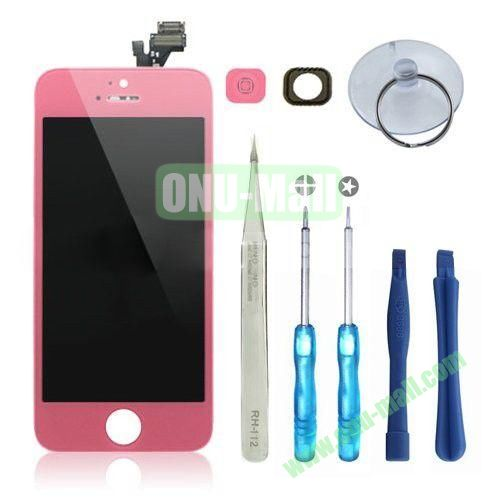 LCD Display+Touch Digitizer Screen+Home Button+Home Button Bracket Assembly Replacement Spare Parts for iPhone 5 With Opening Tool Kits (Pink)