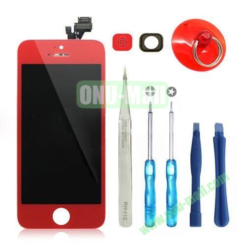 LCD Display+Touch Digitizer Screen+Home Button+Home Button Bracket Assembly Replacement Spare Parts for iPhone 5 With Opening Tool Kits (Red)