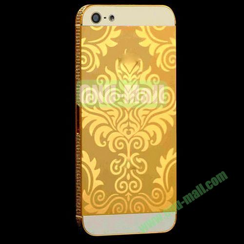 Electroplate Flower Diamond Frame Back Cover Replacement Spare Parts for iPhone 5 (Golden)