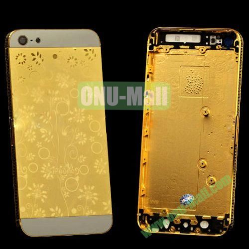 Electroplate Flower Diamond Frame Back Cover Replacement Spare Parts for iPhone 5 (Golden+White)