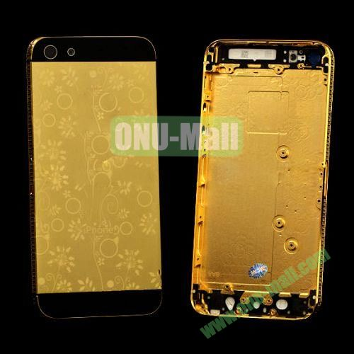 Electroplate Flower Diamond Frame Back Cover Replacement Spare Parts for iPhone 5 (Golden+Black)