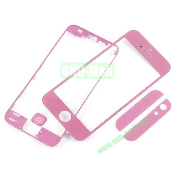 Front Glass+LCD Frame+Home Button+Back Top And Bottom Glass Replacement Spare Parts for iPhone 5 (Pink)