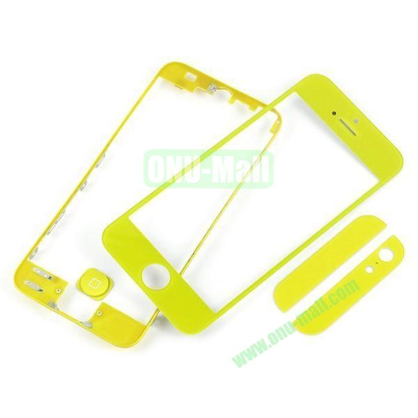 Front Glass+LCD Frame+Home Button+Back Top And Bottom Glass Replacement Spare Parts for iPhone 5 (Yellow)
