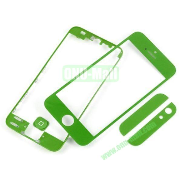 Front Glass+LCD Frame+Home Button+Back Top And Bottom Glass Replacement Spare Parts for iPhone 5 (Green)