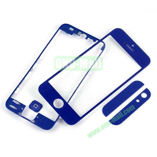 Front Glass+LCD Frame+Home Button+Back Top And Bottom Glass Replacement Spare Parts for iPhone 5 (Dark Blue)