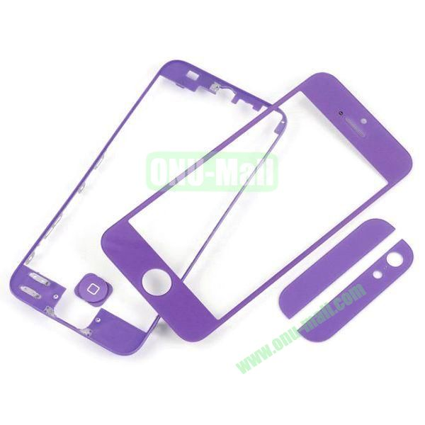 Front Glass+LCD Frame+Home Button+Back Top And Bottom Glass Replacement Spare Parts for iPhone 5 (Purple)