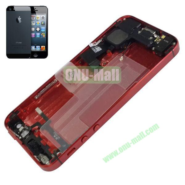 Back Cover Housing with Small Parts Assembly Replacement Parts for iPhone 5 (Red)