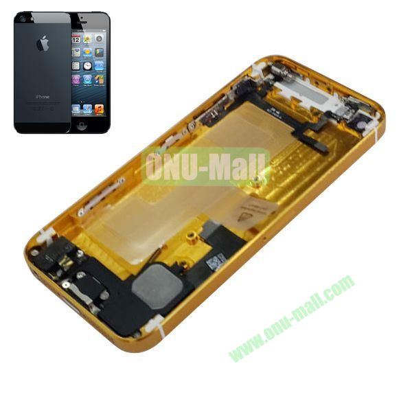Back Cover Housing with Small Parts Assembly Replacement Parts for iPhone 5 (Gold)