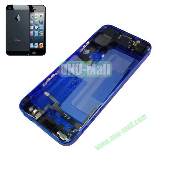 Back Cover Housing with Small Parts Assembly Replacement Parts for iPhone 5 (Blue)
