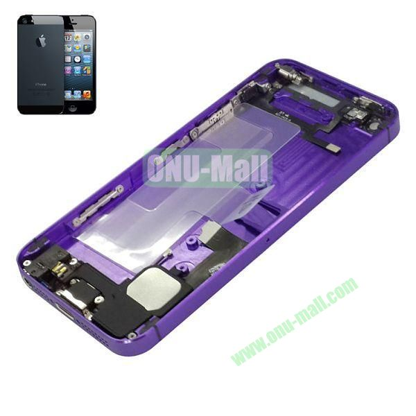Back Cover Housing with Small Parts Assembly Replacement Parts for iPhone 5 (Purple)